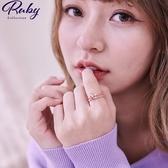 戒指 韓國直送‧鏤空花朵彩鑽雙層指環戒指-Ruby s 露比午茶