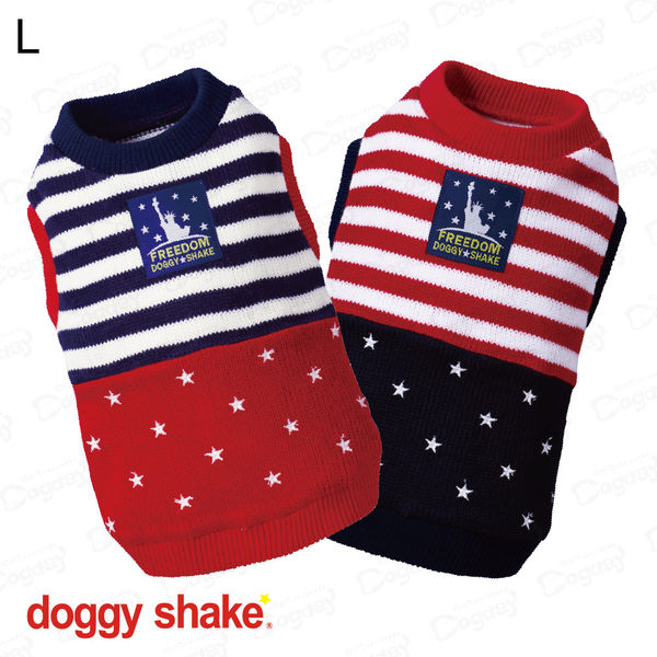 日本《Doggy Shake》自由美國針織背心 L 狗狗發熱衣 狗衣服 冬衣