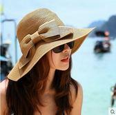 雙層蝴蝶結遮陽帽 度假沙灘草帽防曬大沿太陽帽m31