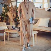 中國風男裝亞麻棉麻禪意衣服休閒夏季佛系復古風短袖t恤套裝 QQ1135『愛尚生活館』