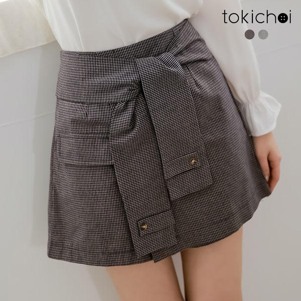 東京著衣-tokichoi-名媛風前綁結細格紋A字短褲-S.M.L(190446)