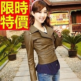 女款皮衣夾克-精美重金屬風帥氣大氣女機車外套61z47【巴黎精品】