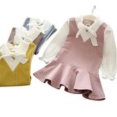 新款女寶寶帶領假兩件條紋裙女童拼接連身裙
