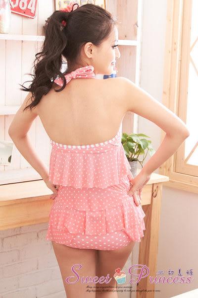 沁甜美姬❤甜心最愛~蛋糕波點二件式泳衣(粉)*花漾爆乳襯墊/日系內衣/睡衣袍/音樂祭