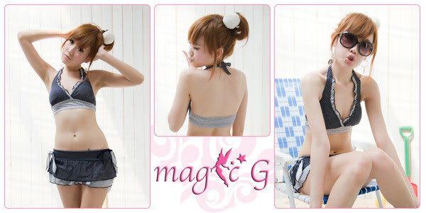 ☆ 橘魔法↗magic G☆【現貨】M022自由時報推薦舒適泳衣蝴蝶結點點蛋糕裙比基尼兩件式