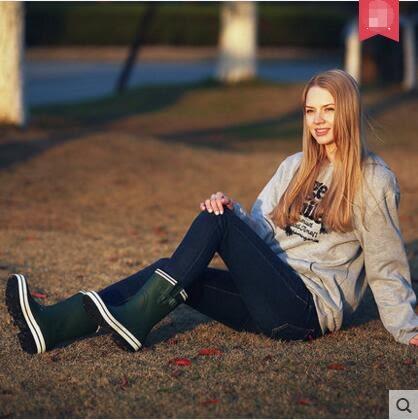 橡膠雨鞋女式歐美經典時尚中筒雨靴防滑防水水靴