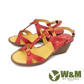【南紡購物中心】W&M(女) 優雅繞踝坡跟厚底彈力涼鞋 女鞋 -紅 (另有藍)