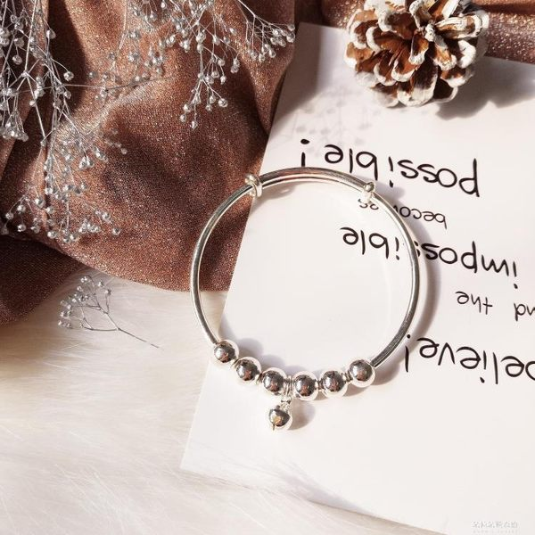 風電鍍925純銀可愛波浪紋銀色鈴鐺手鐲 簡約學生閨蜜手環手鍊 朵拉朵衣櫥