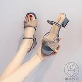涼鞋夏季女鞋仙女風百搭涼拖鞋中跟粗跟高跟鞋【貼身日記】