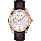 TISSOT天梭 PR100 GMT 二地時區手錶-玫瑰金圈x咖啡/39mm T1014522603100