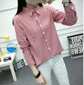 EASON SHOP GU0533 豎條紋女小口袋長袖襯衫韓范學院風  顯瘦學生女裝藍色黑