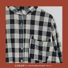 棉麻衫   慢活造型口袋車線格紋長版襯衫   單色-小C館日系