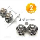 珍珠鑽花耳環-兩款(耳針)新娘飾品貴婦質感[57277]