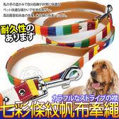 【zoo 寵物商城】dyy 》七彩彩虹條紋寵物牽繩中號2 0 120cm