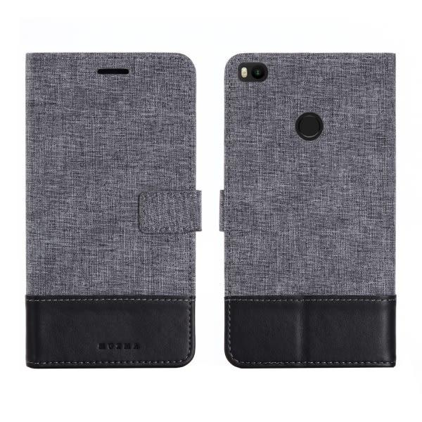 【SZ15】MUXMA 小米MAX2手機殼 翻蓋插卡拼接牛仔帆布皮套 小米6 手機皮套 防摔保護套