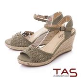 TAS編織造型草編楔型涼鞋-質感綠