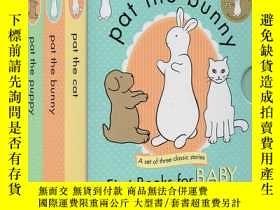 二手書博民逛書店英文原版繪本罕見帕特 拍拍小兔子3冊盒裝 Pat the Bun