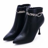 G.Ms. 蛇皮圓鑽飾釦拉鍊細高跟踝短靴-黑色