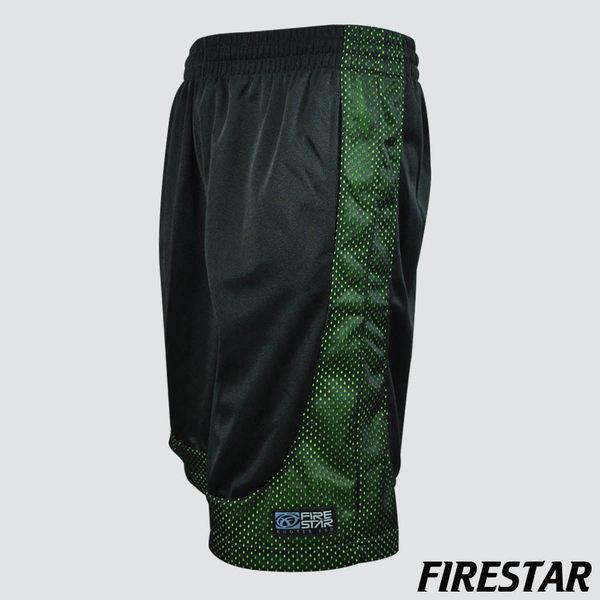 FIRESTAR-男性吸濕排汗網布透色籃球褲 -黑/螢光綠 B4902-63