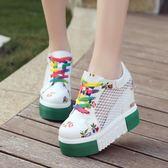 增高鞋 夏季鏤空網鞋厚底松糕鞋韓版內增高12cm超高跟運動女鞋透氣小白鞋 IV1894【雅居屋】