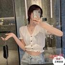 泡泡袖上衣 v領鏤空泡泡袖露肚臍修身百搭夏季針織上衣女短款薄款短袖開衫t恤 2色