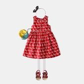 包郵19夏季新款兒童女童純棉紅色歐美童裝童裙中小童背心裙洋裝 幸福第一站