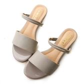 amai 2way寬細繞帶金屬環小坡跟涼鞋 灰