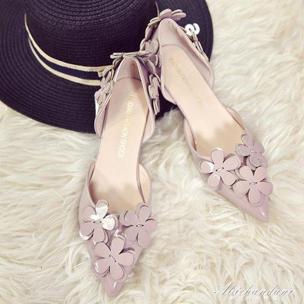 韓版百搭甜美高跟鞋女中空花朵尖頭單鞋細跟3cm低跟鞋  黛尼時尚精品