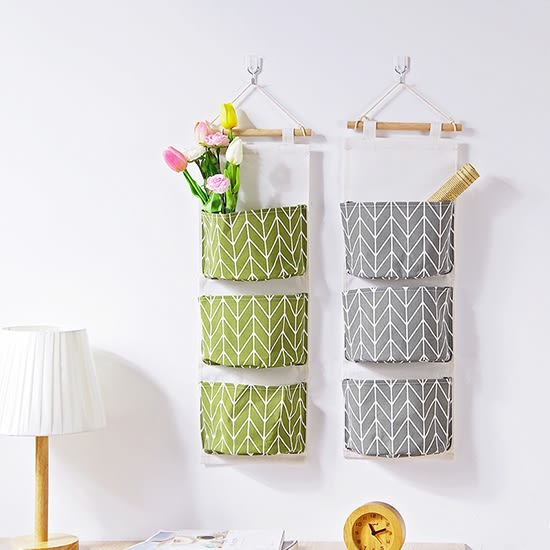 ✭米菈生活館✭【Q29】線條印花棉麻三層掛袋 懸掛式  浴室 臥室 雜物    儲物袋  木質掛桿