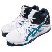 【六折特賣】Asics 排球鞋 Gel-Task MT 白 藍 膠底 中筒 男鞋 運動鞋【PUMP306】 B506Y0143
