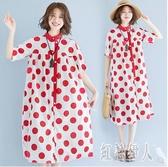中大尺碼連身裙時尚胖妹妹夏裝2020新款顯瘦氣質波點襯衫洋裝女裝潮 yu13002『紅袖伊人』