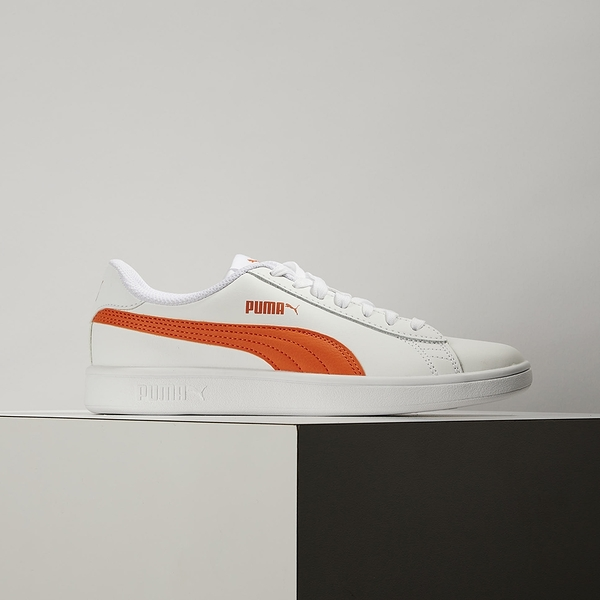 PUMA Smash V2 L 女款 白色 亮橘 皮革 基本 休閒鞋 365215-27