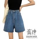 EASON SHOP(GW6246)實拍水洗丹寧腰間鬆緊腰可調式設計收腰A字牛仔褲女高腰短褲休閒褲直筒褲寬褲熱褲