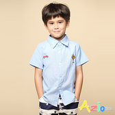 Azio 男童 上衣 汽車路標刺繡素色短袖襯衫(藍) Azio Kids 美國派 童裝