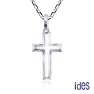 ides愛蒂思 輕珠寶義大利進口14K白金十字架項鍊鎖骨鍊(16吋-KP724)