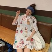 洋裝連身裙短袖T恤裙女夏季新款網紅ins潮polo領小衫1F009 依品國際