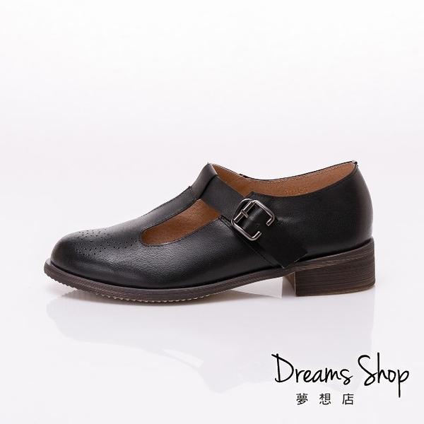 大尺碼女鞋41-45 夢想店 時尚氣質款擦色頭層羊皮復古休閒鞋3.5cm【JSP021-3】黑色