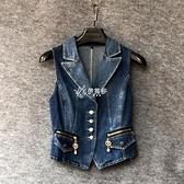 春夏新款女裝網紅牛仔馬甲女短款韓版馬甲背心外套坎肩上衣潮