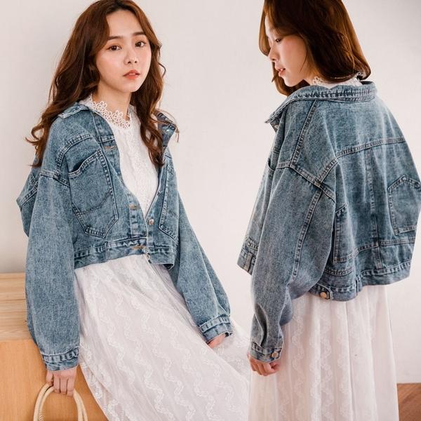 MIUSTAR 韓款!褲子造型後口袋雪花牛仔外套(共1色)【NH0318】預購