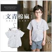 小童純棉文青圓領條紋襯衫清新棉麻短袖上衣男童女童 【哎北比 】