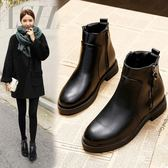小跟短靴女黑色平底馬丁靴女英倫風皮鞋韓版短筒靴子   傑克型男館