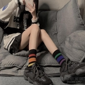 彩虹襪子女短襪潮百搭字母韓國AB短筒小腿襪中筒襪【毒家貨源】