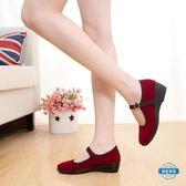 聖誕免運熱銷 媽媽鞋布鞋女鞋紅色厚底楔形平底一代鞋廣場舞舞蹈鞋鞋紅色媽媽鞋單鞋4545