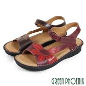 U25-22190 女款厚底涼鞋 綻放撞色花朵沾黏式全真皮小坡跟涼鞋【GREEN PHOENIX】