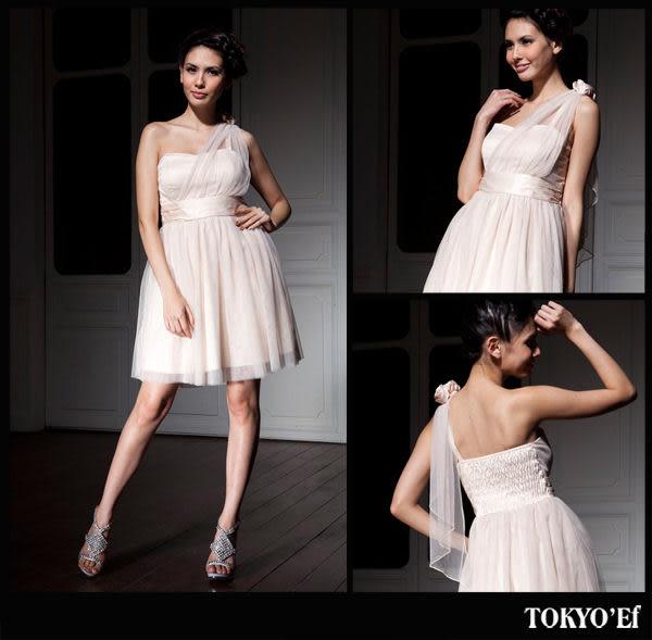 東京衣服 高雅甜心 單肩花朵垂墜網紗洋裝小禮服 白