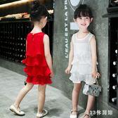 2019時尚新款韓版雪紡寶寶裙子小女孩童裝女童洋裝夏裝兒童的公主裙潮流LB14424【123休閒館】