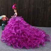 芭芘比大號玩具洋娃娃套裝3D美瞳抹胸婚紗女孩生日新年禮物公主裙拖尾【1件免運】