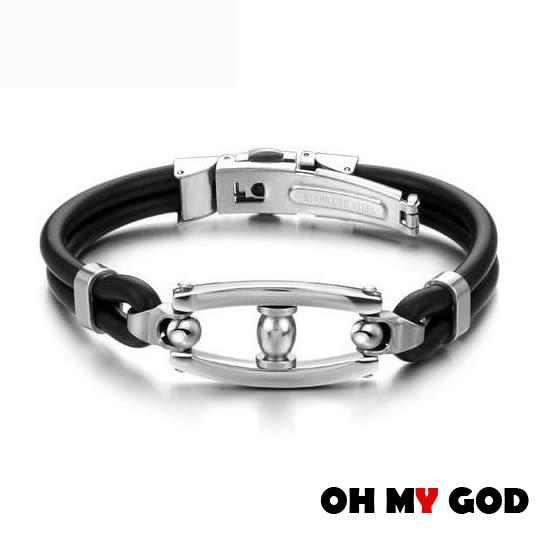 OH MY GOD時尚創意硅膠鈦鋼手環