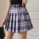 【快出】新款百褶裙學院短裙高腰a字顯瘦JK遮胯防走光格子裙半身裙