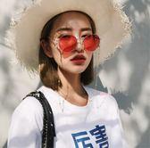 韓版復古眼鏡ins超火的黃色墨鏡帶鏈條男女潮太陽鏡